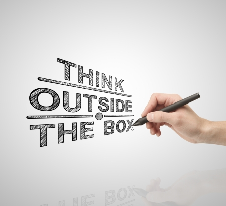 think outside the box: hand drawing  think outside the box