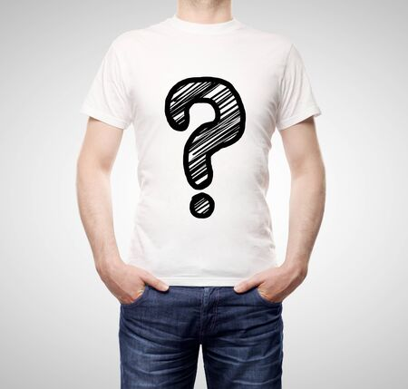 drawing question mark on t-shirt photo