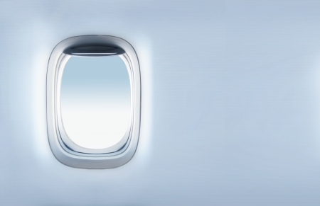 airplane window: empty porthole and  place for text