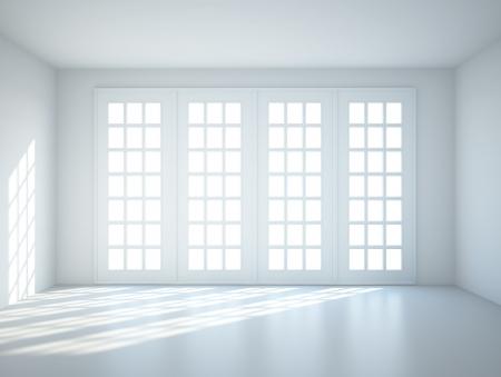 big window: blauw interieur met groot raam