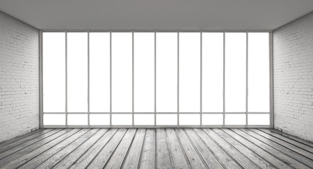 grijs zolder en groot raam Stockfoto