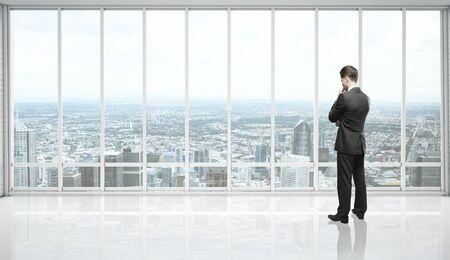 white loft room and businessman photo