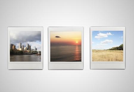 Three photos: city, nature, sunset Stock Photo - 16292631