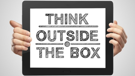 drawing on tablet think outsite box Stock Photo - 16292602