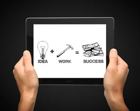 hands holding tablet with formula success Stock Photo - 16292567