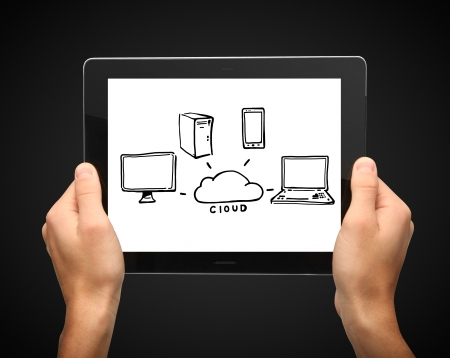 hands holding tablet with  computer network Stock Photo - 16292541