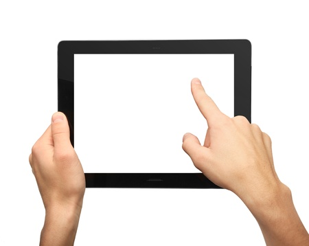 hands pushing tablet on white  background Stock Photo - 16292283