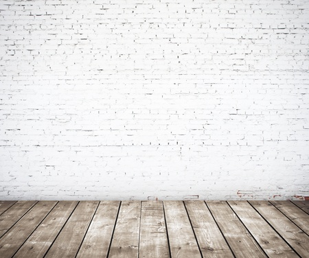 white wall texture: brick wall and wood floor Stock Photo