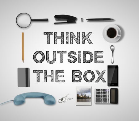 buisness objects and think outside the box photo