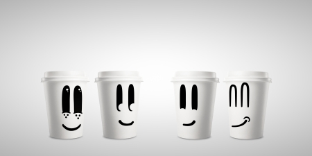 four happy paper cup of coffee photo