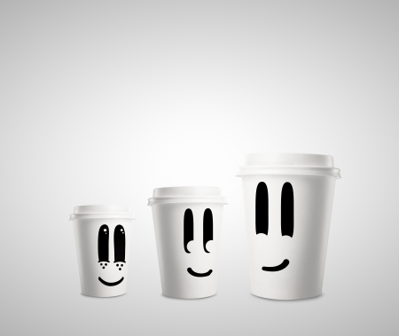 three happy paper cup of coffee photo