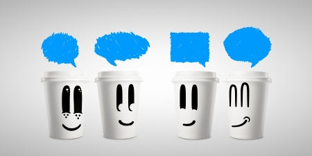 four happy paper cup of coffee with bubble talk photo