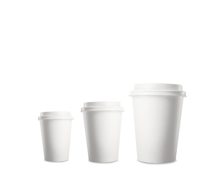 plastic cup: three paper cup of coffee