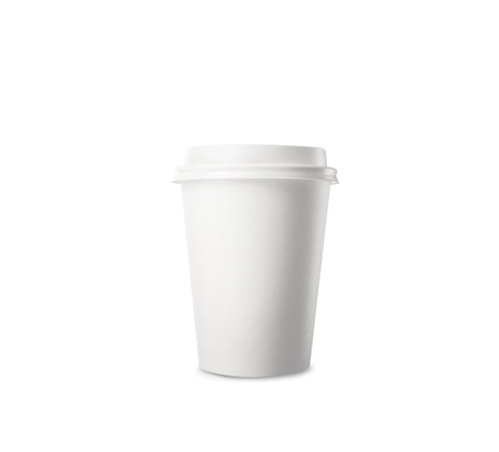take away: Paper cup of coffee on white background
