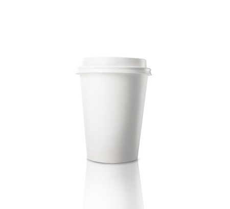disposable mug of coffee on white  background photo