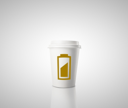 cup of coffee with battery indicator photo