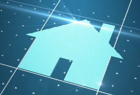 Digital house icon on cyberspace photo