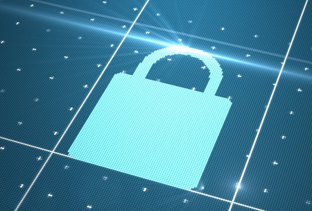 Digital lock icon on cyberspace photo