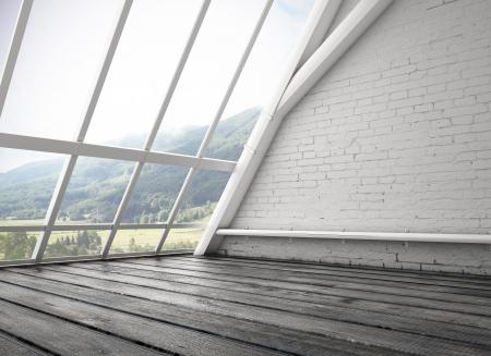 big window: witte loft en grote raam Stockfoto