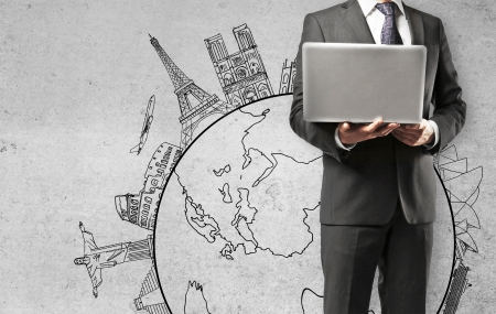 man holding laptop travelling concept Stock Photo - 16343273