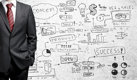 man in suit and business plan on wall Stock Photo - 16343395
