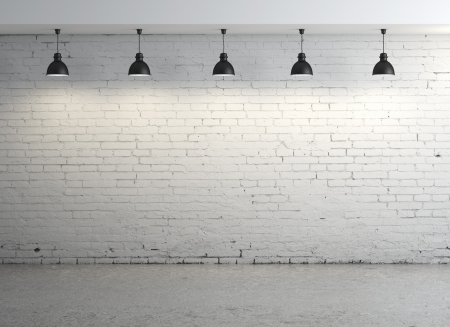 brick room and five lamps Stock Photo - 16343345