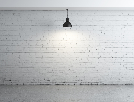 old brick wall: white brick room and lamps Stock Photo