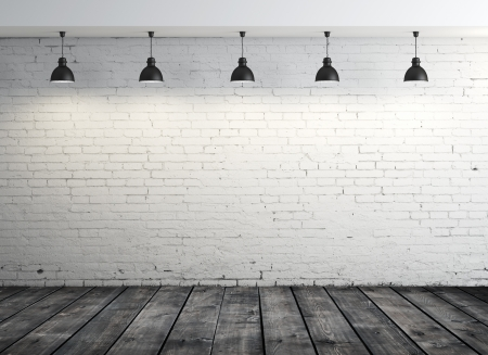 white wall texture: brick room with wood floor and five lamps