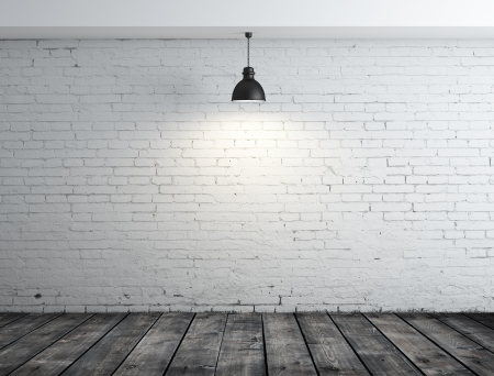 plafond: brick room with wood floor and lamp on ceiling