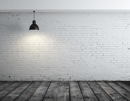 concreto: habitaci�n con suelo de madera y una l�mpara en el techo