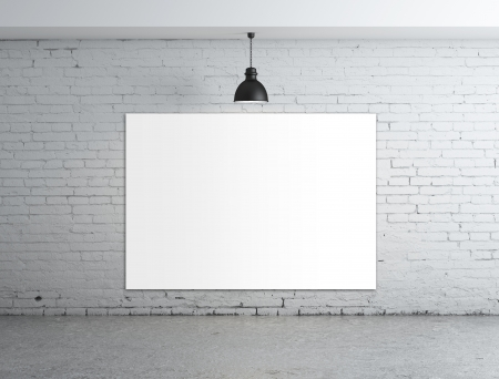 white: empty poster in room with ceiling lamp