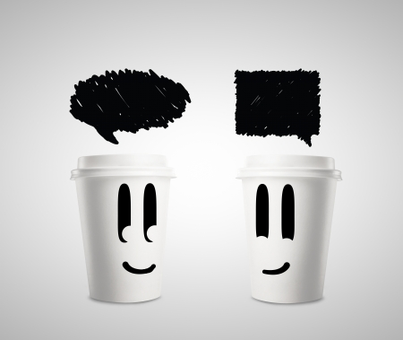 happy paper cup of coffee with speech bubbles photo