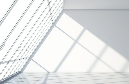 illuminated wall: white room with big window Stock Photo