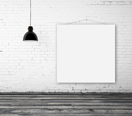 empty poster in interior with ceiling lamp photo