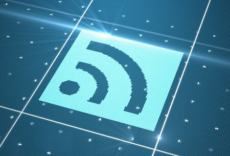 Digital wi-fi icon on cyberspace photo