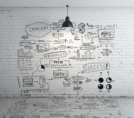 creativity: рисунок глобальной концепции на кирпичной стене