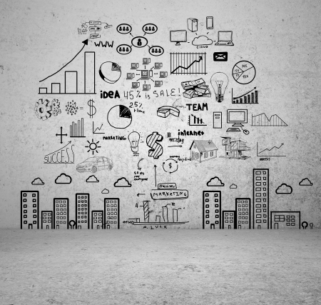 drawing concept city on concrete wall Stock Photo - 16699157