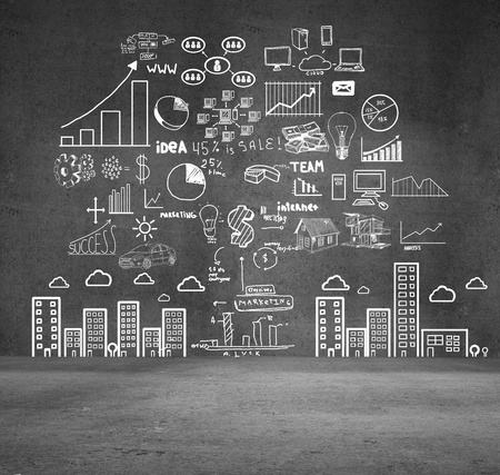 drawing concept city on gray wall Stock Photo - 16699165