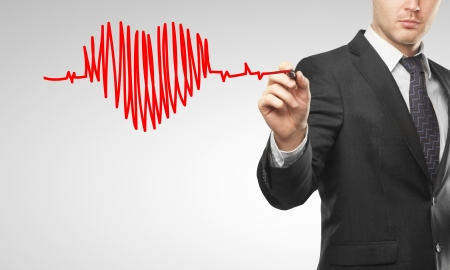 man drawing chart heartbeat and heart Stock Photo - 16697272