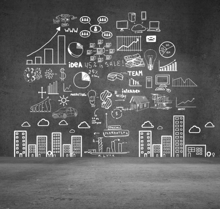 drawing concept city on wall Stock Photo - 16700368