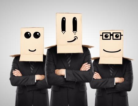 three man with happy box on hand Stock Photo - 16700233