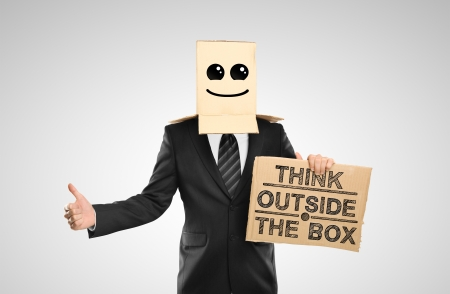 businessman with a happy box on head Stock Photo - 16699280