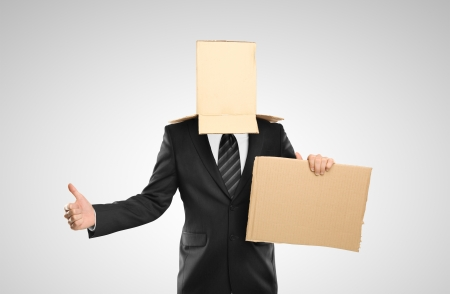 businessman with a box on head Stock Photo - 16699247