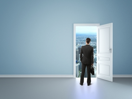 man in blue room with door in city Stock Photo - 16699286