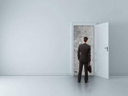 man in room with walled door Stock Photo - 16699241