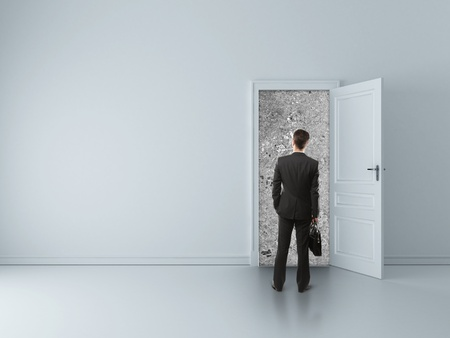 man in room with walled door Stock Photo - 16699241