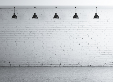 brick background: brick concrete room with five ceiling lamps