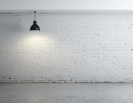 cracked concrete frame: brick concrete room with ceiling lamps