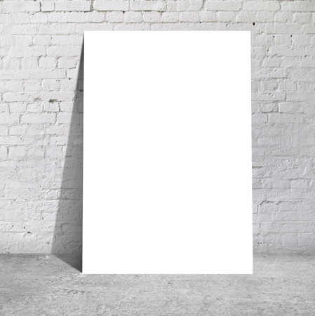 drawing table: table standing next to a brick wall Stock Photo