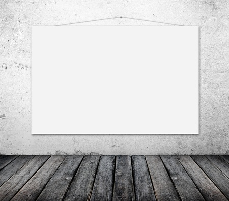 concrete commercial block: blank poster on wall in grunge room Stock Photo